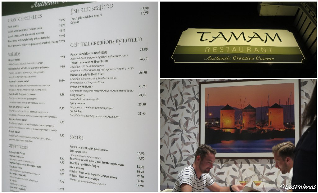 Tamam, comer en restaurante creativo en Rodas city, Grecia Greece