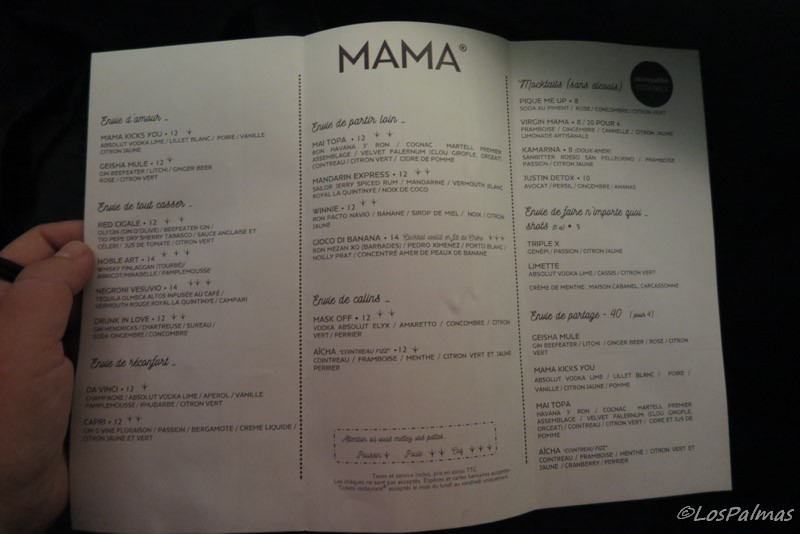 La carta de Mama shelter burdeos bordeaux